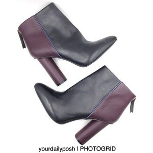 Black plum leather Cabi heeled ankle boots 10